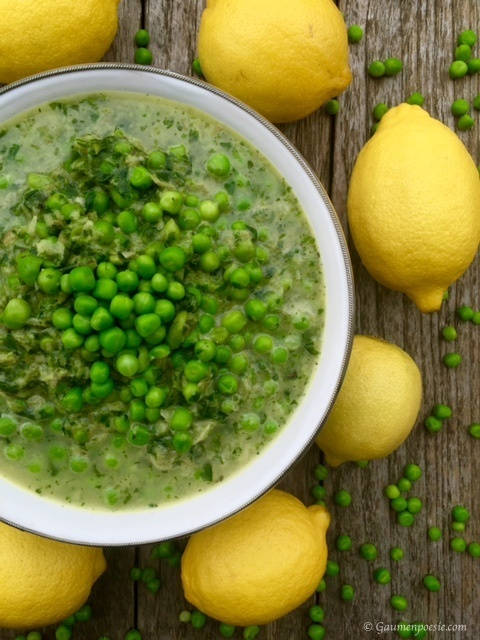 Salatsuppe mit Erbsen und Zitrone 3