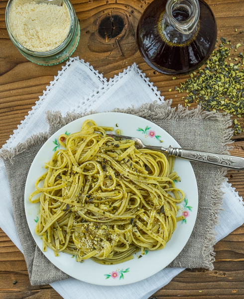 Kürbiskernöl - Spaghetti mit gerösteten Kürbiskernen 2