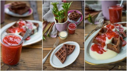 Browniewaffeln mit Vanillesauce 3