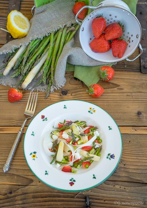 Spargelsalat mit Erdbeeren und Schafskäse 2