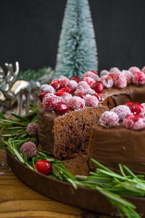 Schokoladen-Portwein-Kuchen mit sparkling Cranberries 2