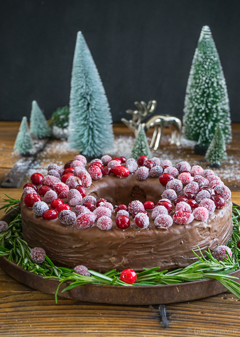 Schokoladen-Portwein-Kuchen mit sparkling Cranberries 1